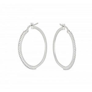 25mm Cubic Zirconia Silver Hoop Earrings