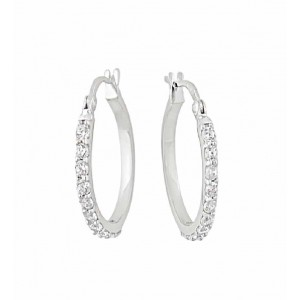 16mm Cubic Zirconia Silver Hoop Earrings