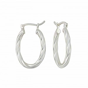 25mm Twisted Rope Design Silver Hoop Earrings
