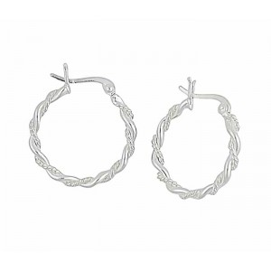 Rope Design Small Silver Hoops - 22mm
