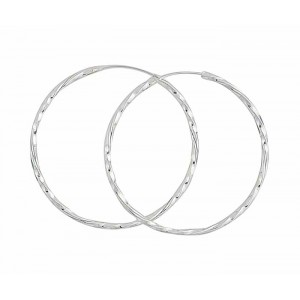 Twisted Design Large Silver Hoops Earring 45mm