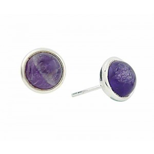 Sterling Silver Circle Amethyst Earrings