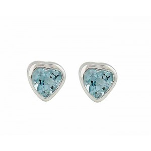 Heart Blue Topaz Stud Earrings