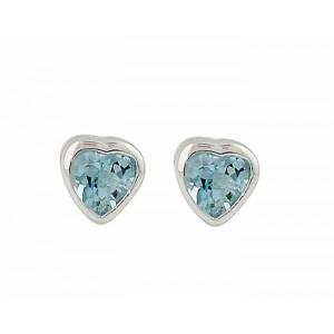 Heart Blue Topaz Stud Earrings