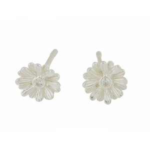 Flower and Cubic Zirconia Small Silver Stud