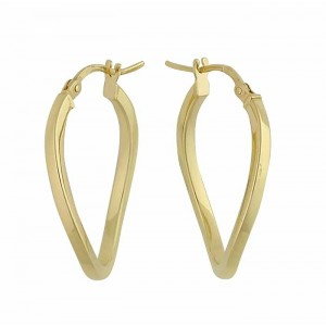 Gold Plated Plain Oval Creole - 26mm