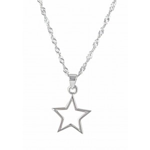 Rhodium Plated Silver Star Pendant Necklace
