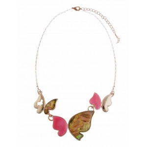 Multi Colour Enamel Butterfly Pendant Necklace on Rose Gold Chain