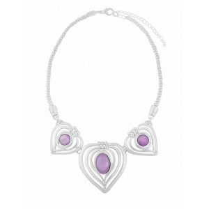Triple Heart Silver Finish Necklace