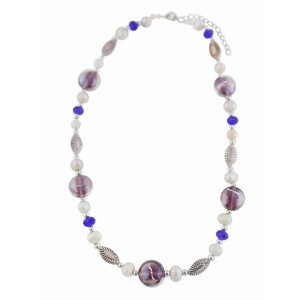 Bead and Blue Crystal Fashion Necklace