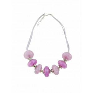 Large Purple Bead Fashion Necklace on Rope