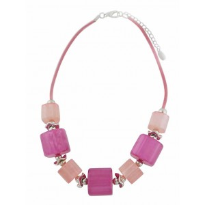 Large Pink Bead Fashion Necklace on Rope