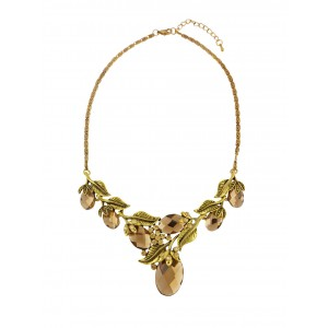 Golden Tone Branch and Leaf Style Fashion Necklace