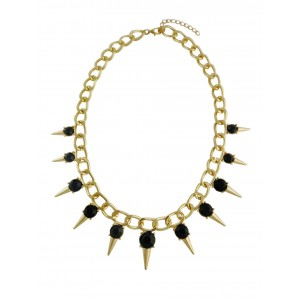 Black Bead and Golden Spike Fashion Necklace