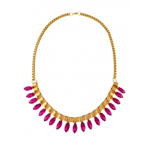 Plum Red Crystal Pendant Fashion Necklace