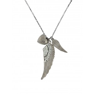 Angel Wing and Heart Pendant Long Necklace