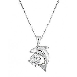 Rhodium Plated Dolphin Pendant Necklace