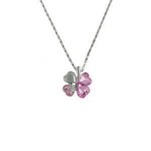 Pink Clover Pendant Necklace on Silver Tone Chain