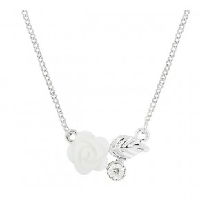 Rose and Leaf Pendant Necklace