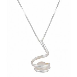 Swirl Sterling Silver Bar and Freshwater Pearl Necklace
