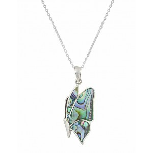 Multi Colour Shell Butterfly Silver Necklace