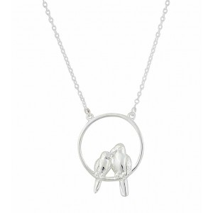 Circle and Bird Silver Necklace
