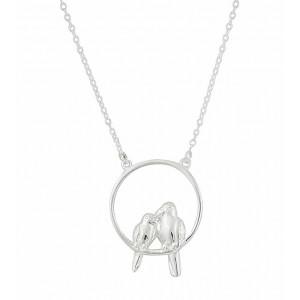 Circle and Bird Silver Necklace