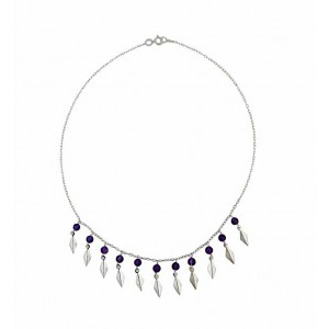 Amethyst Stone Bead Silver Necklace