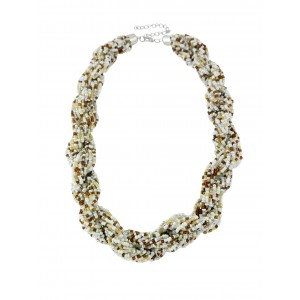 Plaited White Seed Bead Fashion Necklace