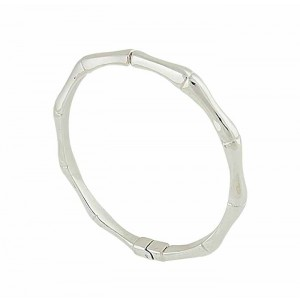Silver Bamboo Hinged Bangle