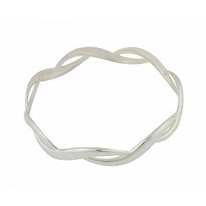 Open Wave Silver Bangle
