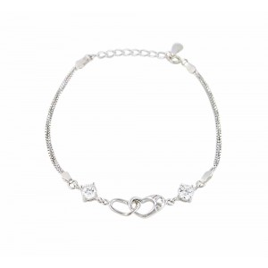Rhodium Plated Silver Heart Bracelet