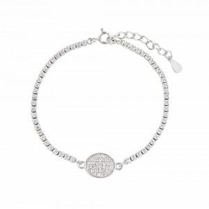 Disc Charm Sterling Silver Bracelet