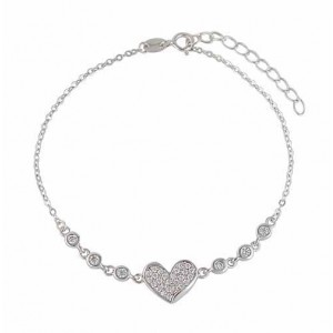 Heart and Cubic Zirconiz Sterling Silver Bracelet