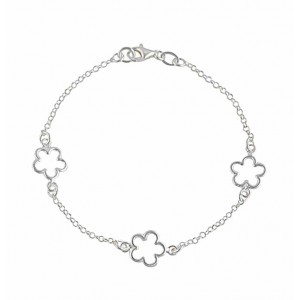 Three Flower Silver Bracelet