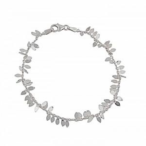 Leaf Charm Silver Bracelet