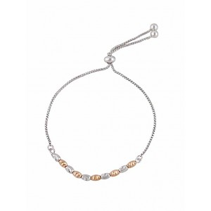 Textured Rose Gold and Silver Bead Bracelet