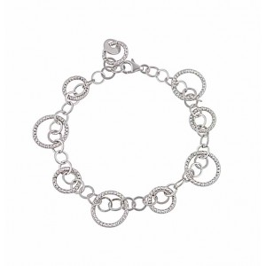 Interlocking Circle Silver Bracelet