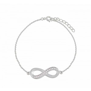 Cubic Zirconia Set Figure of Eight Silver Bracelet