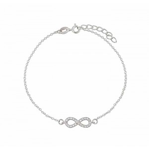 Infinity Design Cubic Zirconia Sterling Silver Bracelet
