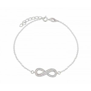Double Row Cubic Zirconia Silver Infinity Bracelet
