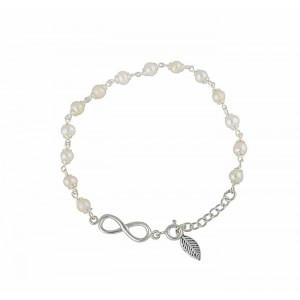 Silver Infinity and Freshwater Pearl Bracelet
