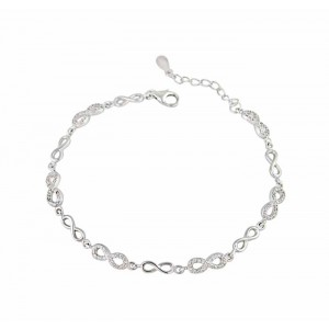 Plain and Cubic Zirconia Set Silver Infinity Bracelet