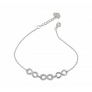 Three Infinity Silver Bracelet