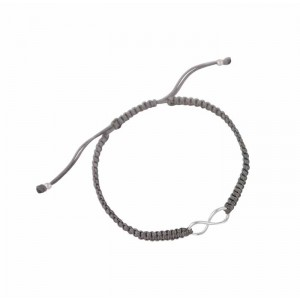 Silver Infinity Charm Adjustable Bracelet - Grey