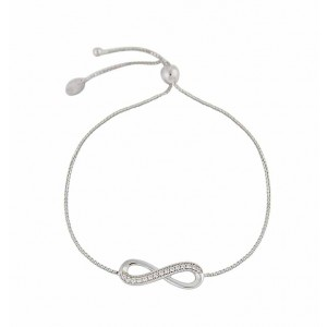 Single Infinity Charm and Cubic Zirconia Slider Bracelet