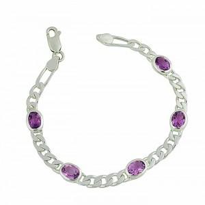 Silver Amethyst Stone Link Bracelet