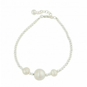 Graduated Freshwater Pearl and Silver Ball Bracelet