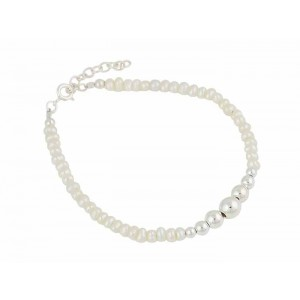 Freshwater Pearl Sterling Silver Bead Bracelet