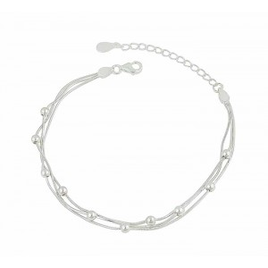 Silver Ball and Snake Chain Bracelet